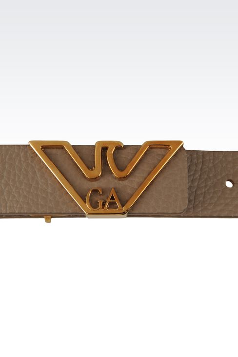 LEATHER BELT WITH EAGLE BUCKLE: Leather belts Women by Armani - 3