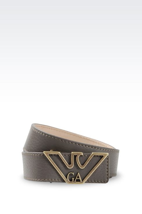 LEATHER BELT WITH EAGLE BUCKLE: Leather belts Women by Armani - 1