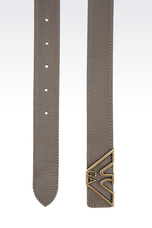 LEATHER BELT WITH EAGLE BUCKLE: Leather belts Women by Armani - 2