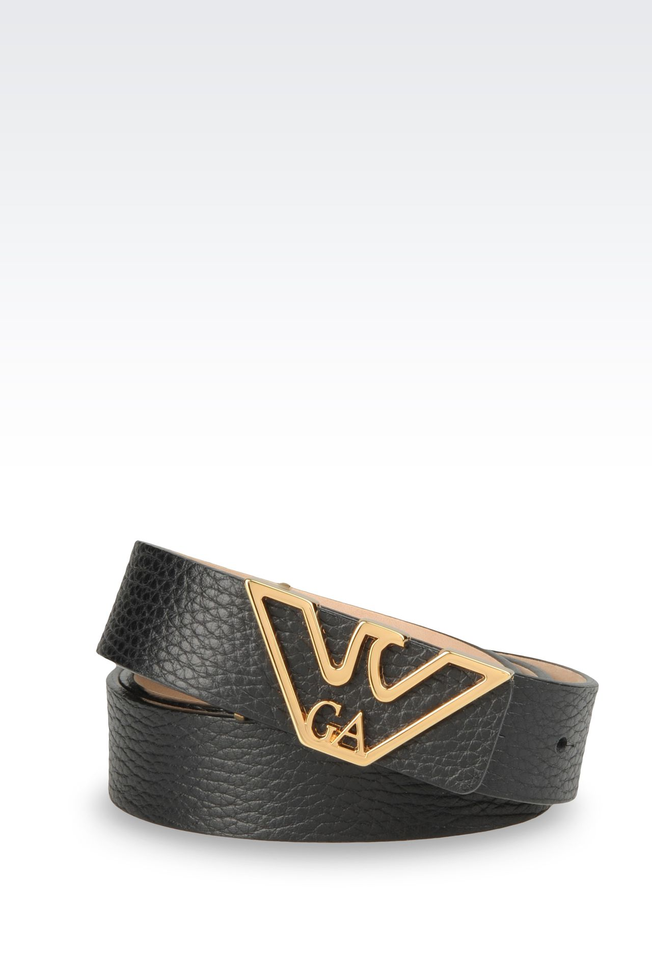 LEATHER BELT WITH EAGLE BUCKLE: Leather belts Women by Armani - 0