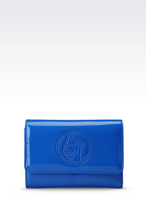 BUTTON WALLET IN ECO PATENT LEATHER WITH LOGO: Wallets Women by Armani - 1
