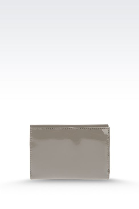 BUTTON WALLET IN ECO PATENT LEATHER WITH LOGO: Wallets Women by Armani - 2