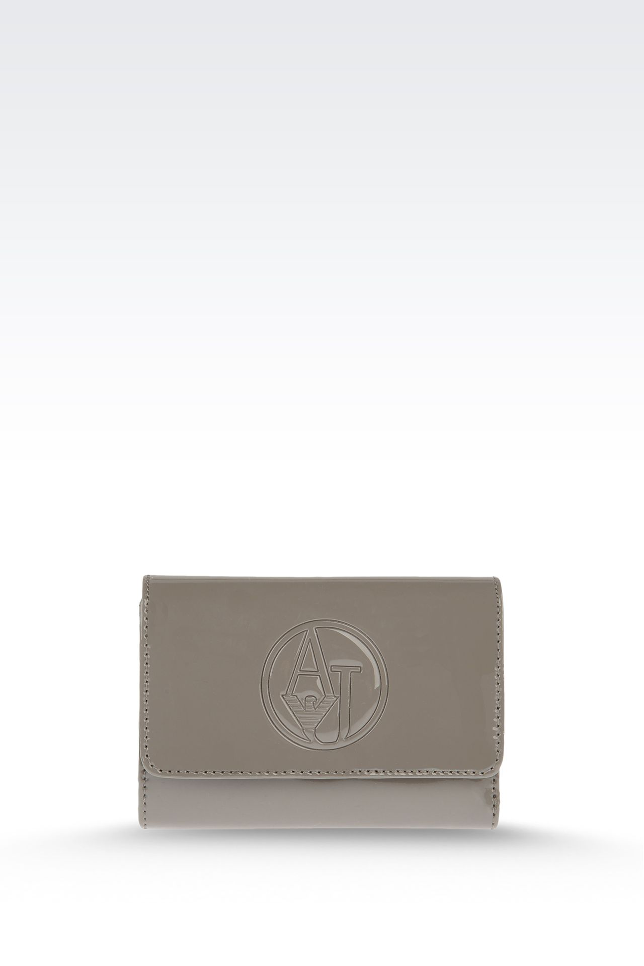 BUTTON WALLET IN ECO PATENT LEATHER WITH LOGO: Wallets Women by Armani - 0
