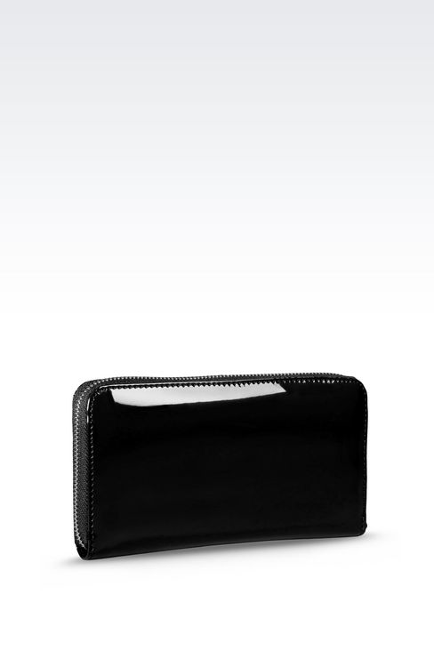 ZIP AROUND WALLET IN FAUX PATENT LEATHER WITH LOGO: Wallets Women by Armani - 3