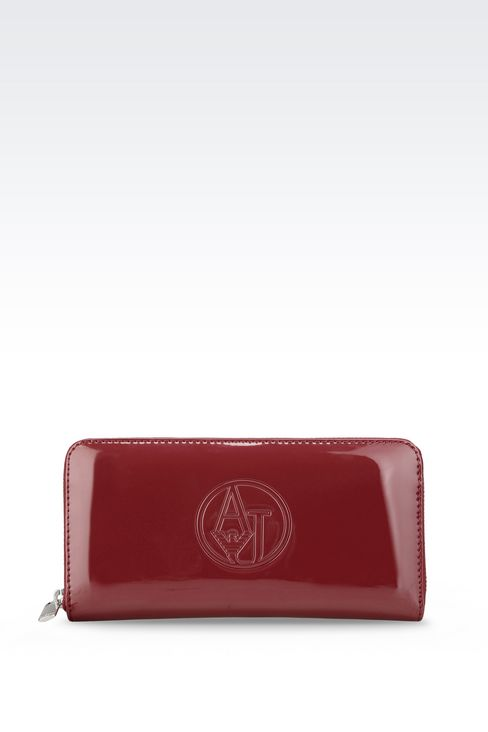 ZIP AROUND WALLET IN FAUX PATENT LEATHER WITH LOGO: Wallets Women by Armani - 1