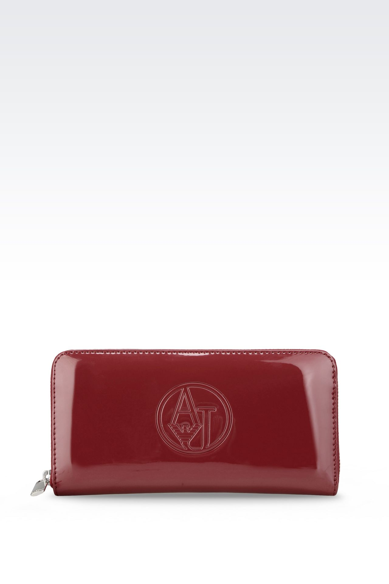 ZIP AROUND WALLET IN FAUX PATENT LEATHER WITH LOGO: Wallets Women by Armani - 0