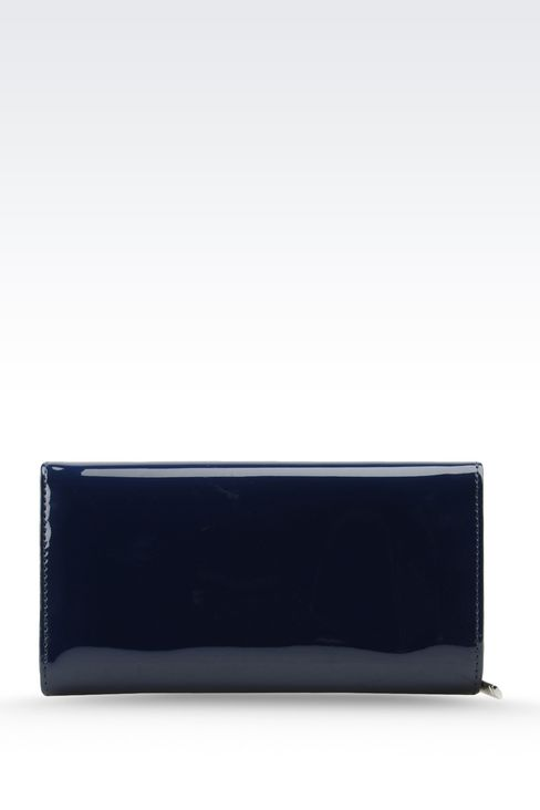 BUTTON WALLET IN FAUX PATENT LEATHER WITH LOGO: Wallets Women by Armani - 3