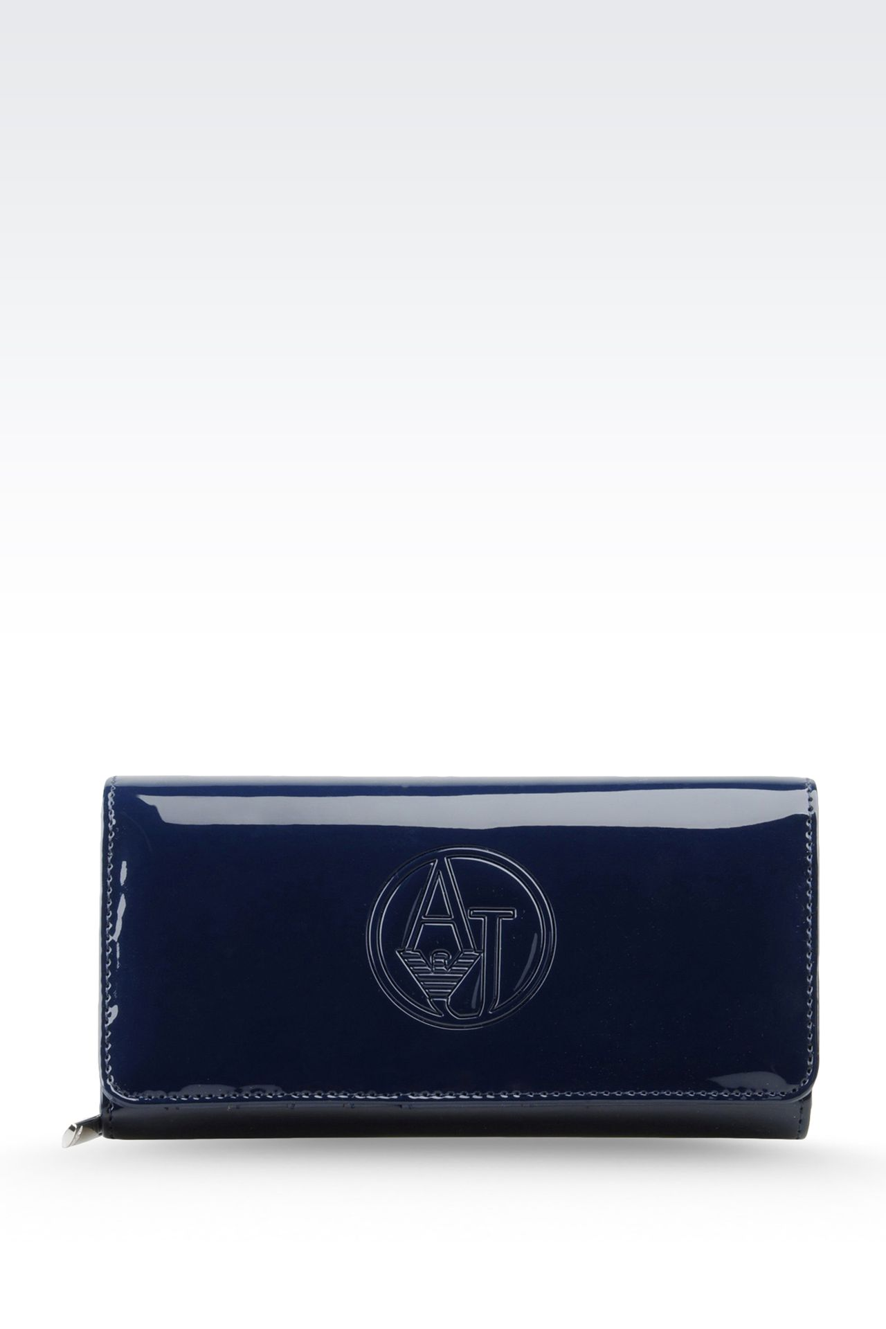 BUTTON WALLET IN FAUX PATENT LEATHER WITH LOGO: Wallets Women by Armani - 0