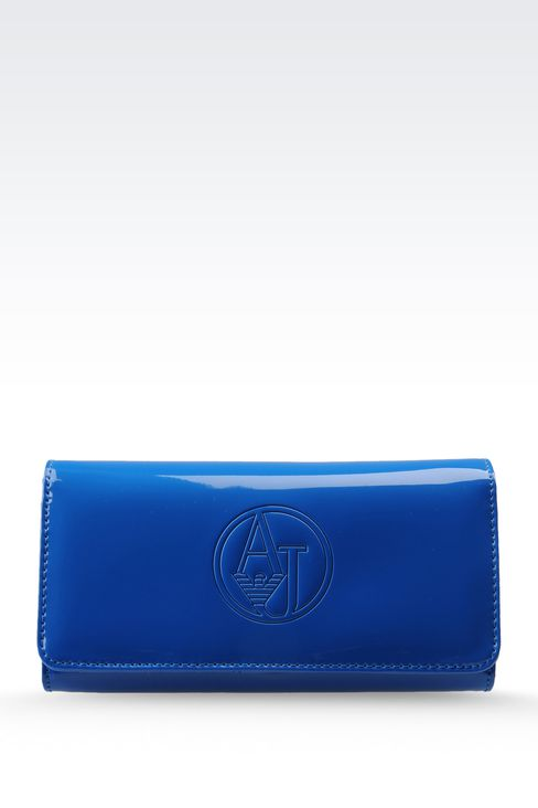 BUTTON WALLET IN FAUX PATENT LEATHER WITH LOGO: Wallets Women by Armani - 1