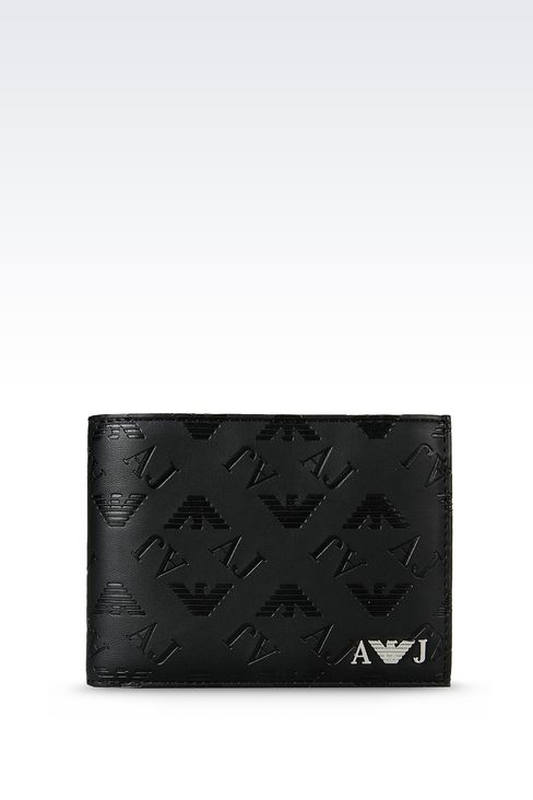 BI-FOLD WALLET IN FAUX LEATHER WITH ALL OVER LOGO: Wallets Men by Armani - 1