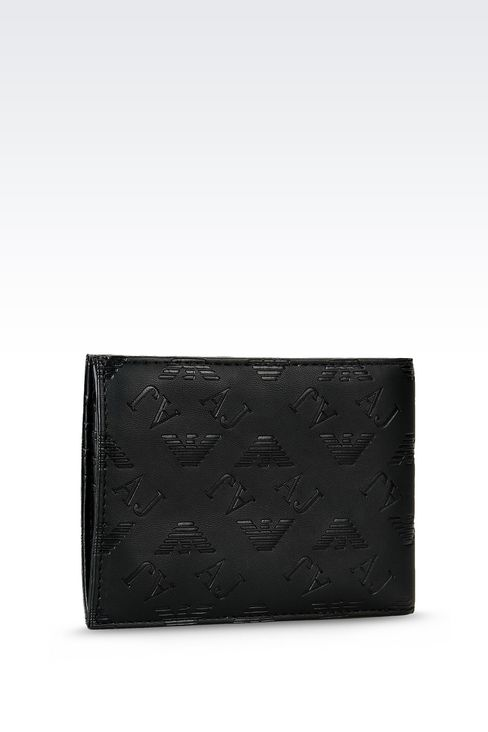 BI-FOLD WALLET IN FAUX LEATHER WITH ALL OVER LOGO: Wallets Men by Armani - 2