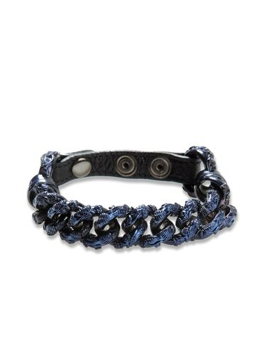 DIESEL BLACK GOLD - Cuff/Bracelet - CHAIN_LEATHER-BRACEL