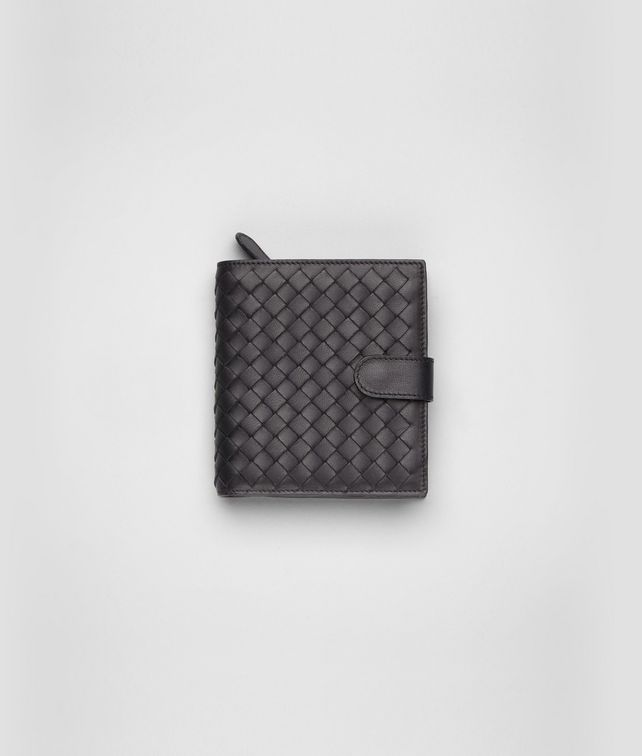 BOTTEGA VENETA Nero Intrecciato Nappa French Flap Wallet Mini Wallet or Coin Purse D fp