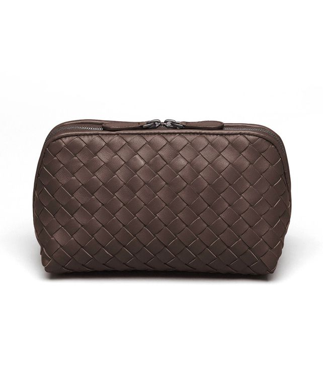 BOTTEGA VENETA MEDIUM COSMETIC CASE IN EBANO INTRECCIATO NAPPA Other Leather Accessory D fp