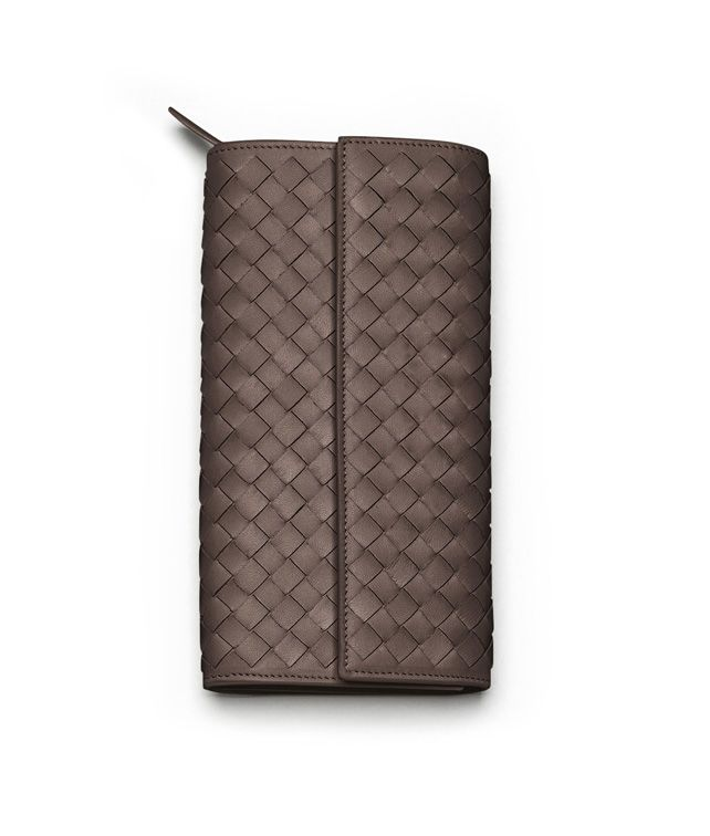 BOTTEGA VENETA CONTINENTAL WALLET IN EBANO INTRECCIATO NAPPA Continental Wallet D fp