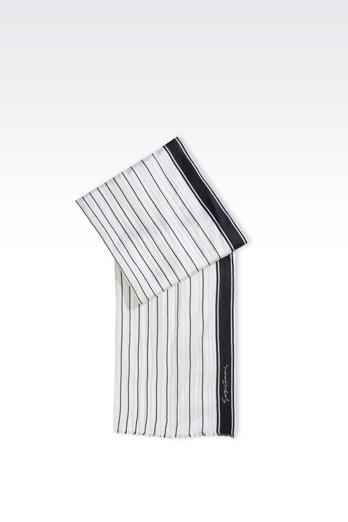 SILK SCARF WITH STRIPED PATTERN: Stoles Women by Armani - 1