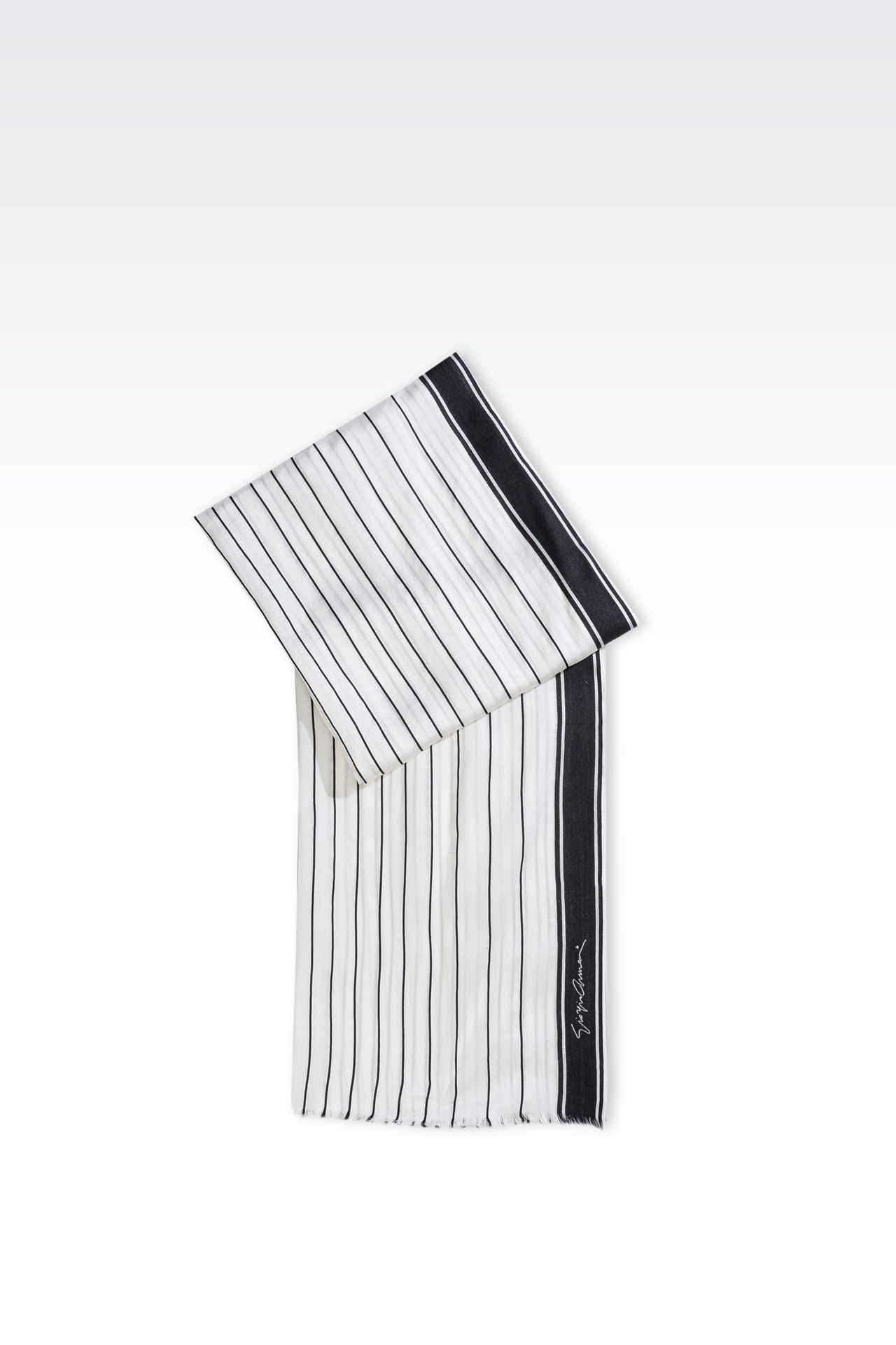 SILK SCARF WITH STRIPED PATTERN: Stoles Women by Armani - 0