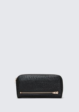 FUMO CONTINENTAL WALLET IN  BLACK PEBBLE LEATHER WITH ROSEGOLD