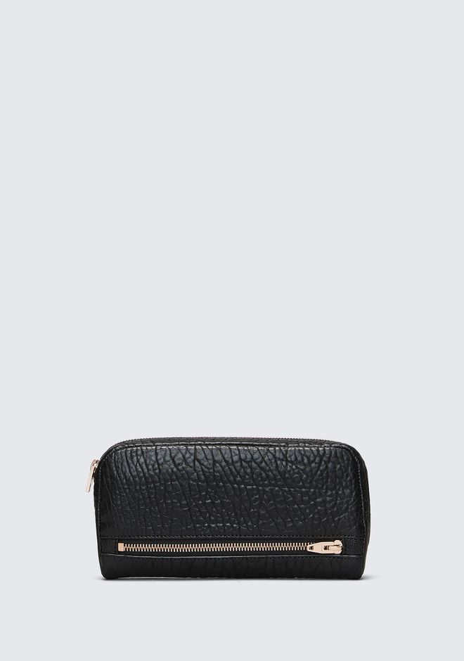 ALEXANDER WANG FUMO CONTINENTAL WALLET IN  BLACK PEBBLE LEATHER WITH ROSEGOLD