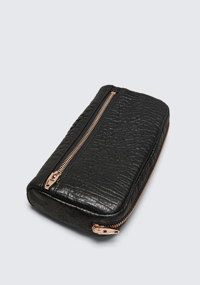 ALEXANDER WANG FUMO CONTINENTAL WALLET IN  BLACK PEBBLE LEATHER WITH ROSEGOLD Wallets Adult 12_n_e