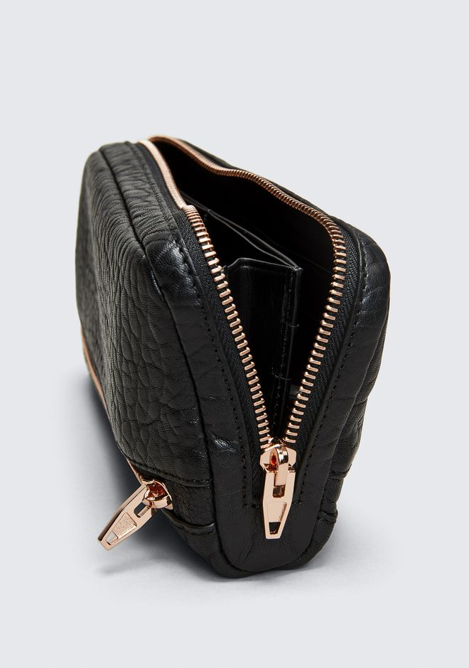 ALEXANDER WANG FUMO CONTINENTAL WALLET IN  BLACK PEBBLE LEATHER WITH ROSEGOLD Wallets Adult 12_n_r