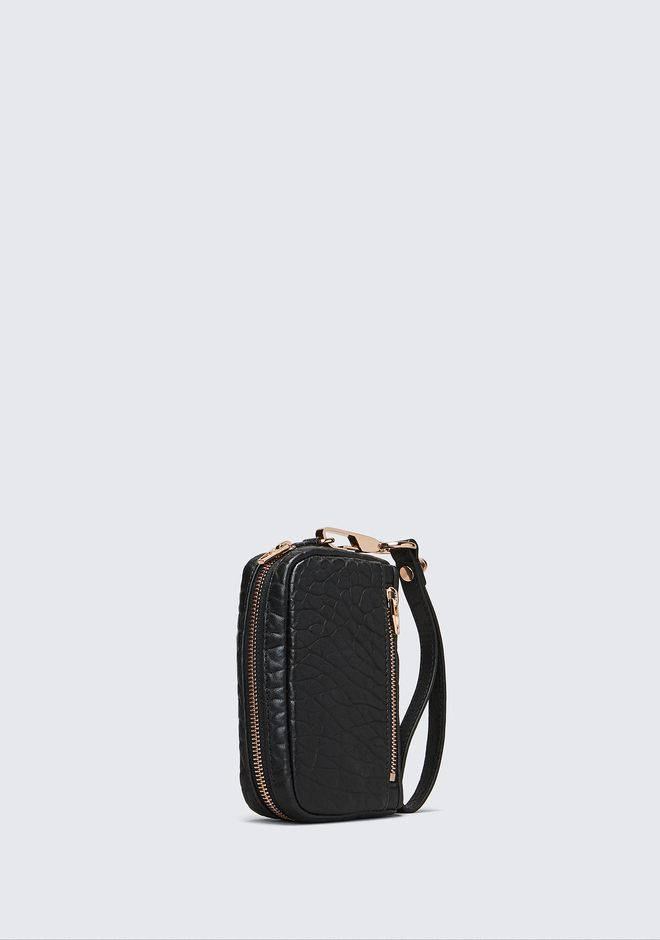 ALEXANDER WANG LARGE FUMO IN PEBBLED BLACK WITH ROSE GOLD Wallets Adult 12_n_a