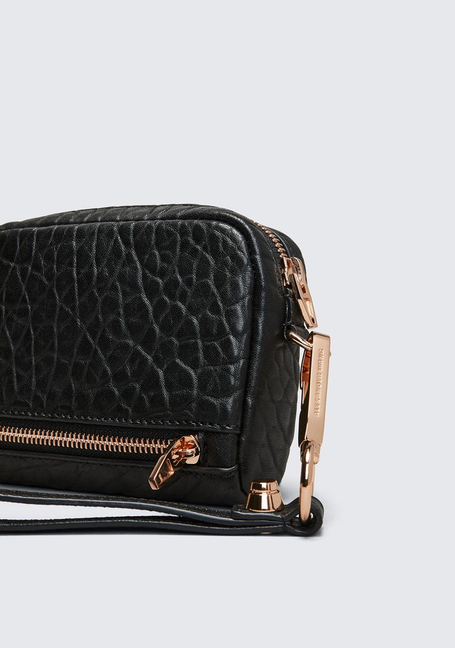 ALEXANDER WANG LARGE FUMO IN PEBBLED BLACK WITH ROSE GOLD Wallets Adult 12_n_d