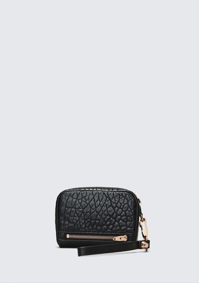 ALEXANDER WANG LARGE FUMO IN PEBBLED BLACK WITH ROSE GOLD Wallets Adult 12_n_e