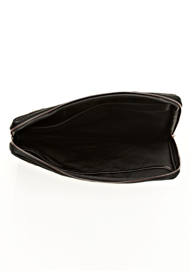 FUMO LAPTOP CASE IN BLACK PEBBLE LEATHER WITH ROSEGOLD