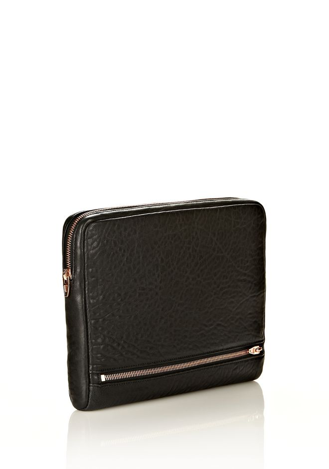 FUMO IPAD CASE IN  BLACK PEBBLE LEATHER WITH ROSEGOLD