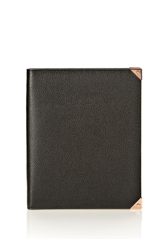 ALEXANDER WANG PRISMA IPAD CASE IN BLACK PEBBLE WITH ROSEGOLD