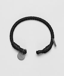 BOTTEGA VENETA - Leather Bracelets, Nero Intrecciato Nappa Bracelet