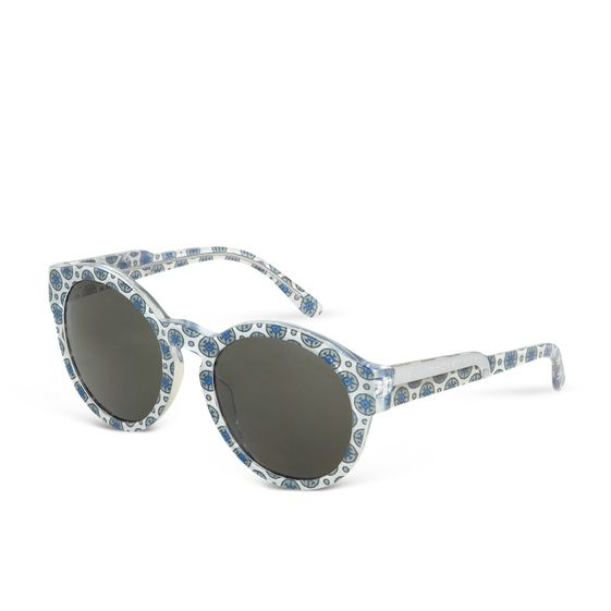 Stella McCartney, Oriental Circle Blue & Silver Round Sunglasses