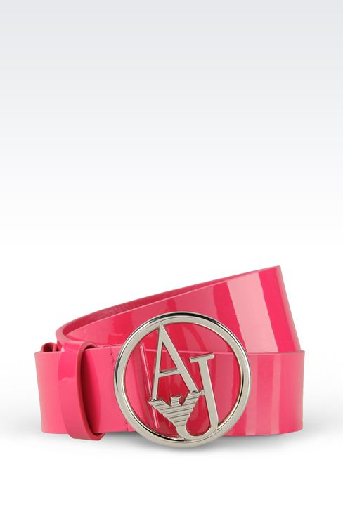 PATENT LEATHER BELT WITH LOGOED BUCKLE : Leather belt Women by Armani - 1