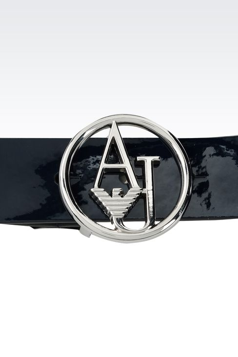 PATENT LEATHER BELT WITH LOGOED BUCKLE : Textile belts Women by Armani - 3