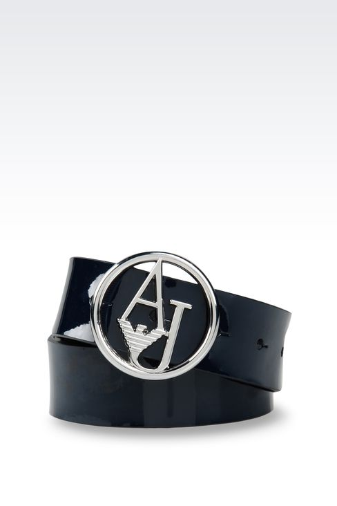 PATENT LEATHER BELT WITH LOGOED BUCKLE : Textile belts Women by Armani - 1