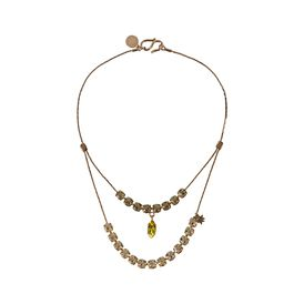 STELLA McCARTNEY, Jewellery, Rose Gold Brass and Stones Double Pendant Necklace