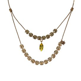 STELLA McCARTNEY, Jewelry, Rose Gold Brass and Stones Double Pendant Necklace