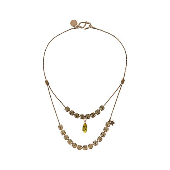 Stella McCartney, Rose Gold Brass and Stones Double Pendant Necklace
