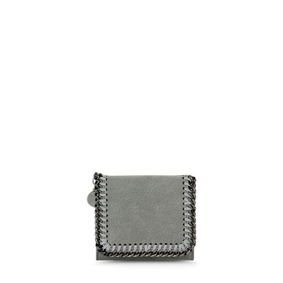 Stella McCartney, Kleines Portemonnaie Falabella mit Fold Over-Verschluss in Hirschlederoptik