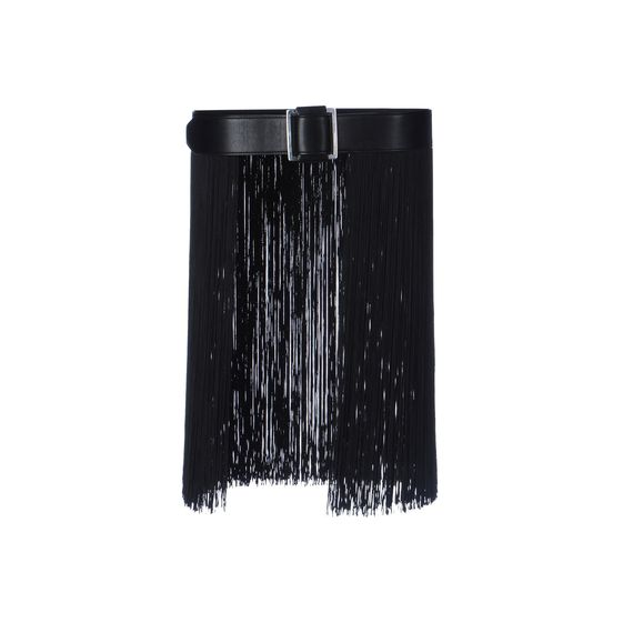 Stella McCartney, Wide Faux Leather and Fringe Belt
