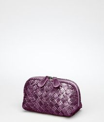 Cosmetic CaseSmall Leather GoodsReptile leatherPurple Bottega Veneta