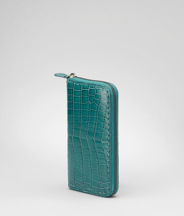 Shiny Crocodile Fumé Zip Around Wallet