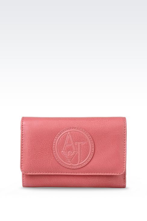 BUTTON WALLET IN ECO LEATHER WITH LOGO: Wallets Women by Armani - 1