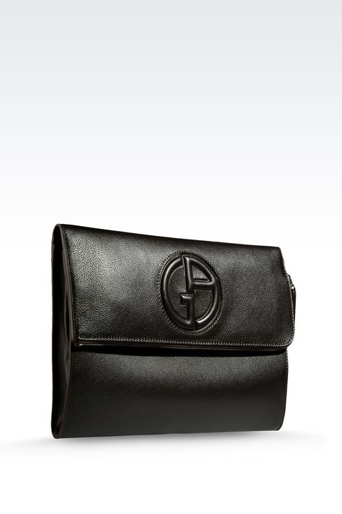 DOCUMENT HOLDER IN TUMBLED CALFSKIN WITH LOGO: Document holders Men by Armani - 4