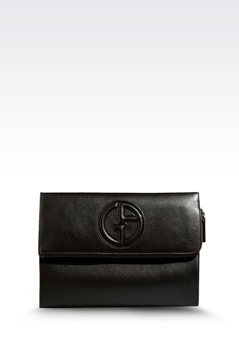 DOCUMENT HOLDER IN TUMBLED CALFSKIN WITH LOGO: Document holders Men by Armani - 1