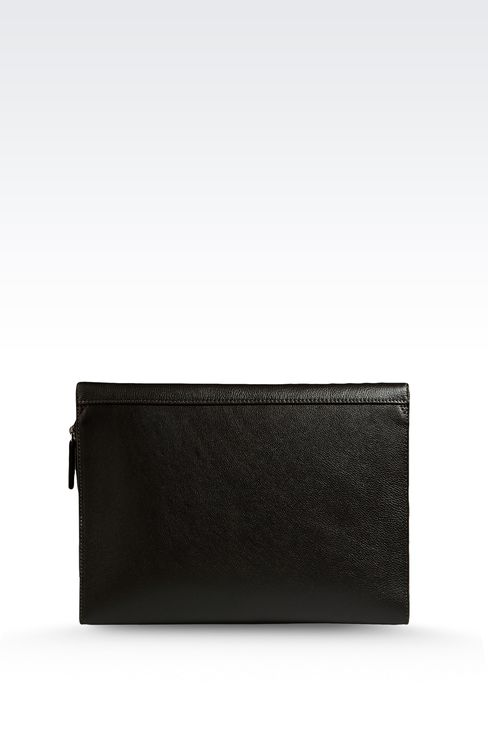 DOCUMENT HOLDER IN TUMBLED CALFSKIN WITH LOGO: Document holders Men by Armani - 2