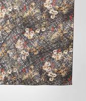 Silk Scribble Floral Print Foulard