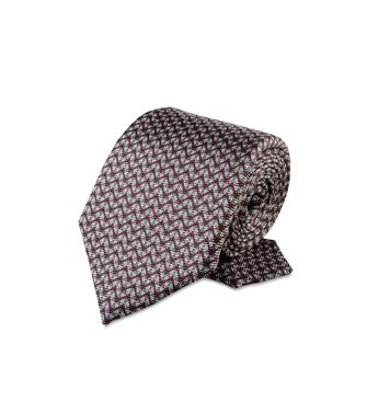 ERMENEGILDO ZEGNA: Cravate Rouge - Bordeaux - Gris - 46303508PB