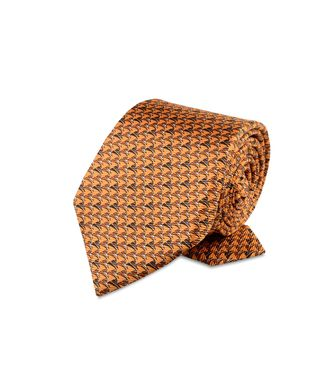 ERMENEGILDO ZEGNA: Cravate Orange - Bleu - Rouille - 46303511AU